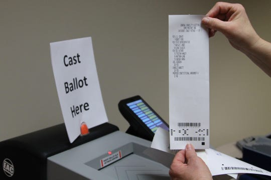 Once a voter makes their choices, a slip of paper containing their ballot will be printed out. However, it will not be counted unless it is scanned into the ballot box.