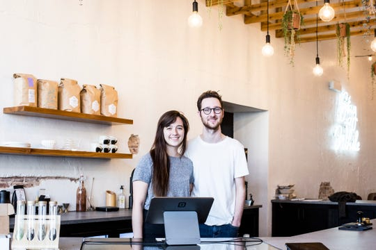 March 26, 2019 - Comeback Coffee's owners Amy and Hayes McPherson inside of their soon to be open coffee shop in the Pinch District. Comeback Coffee officially opens on March 29.