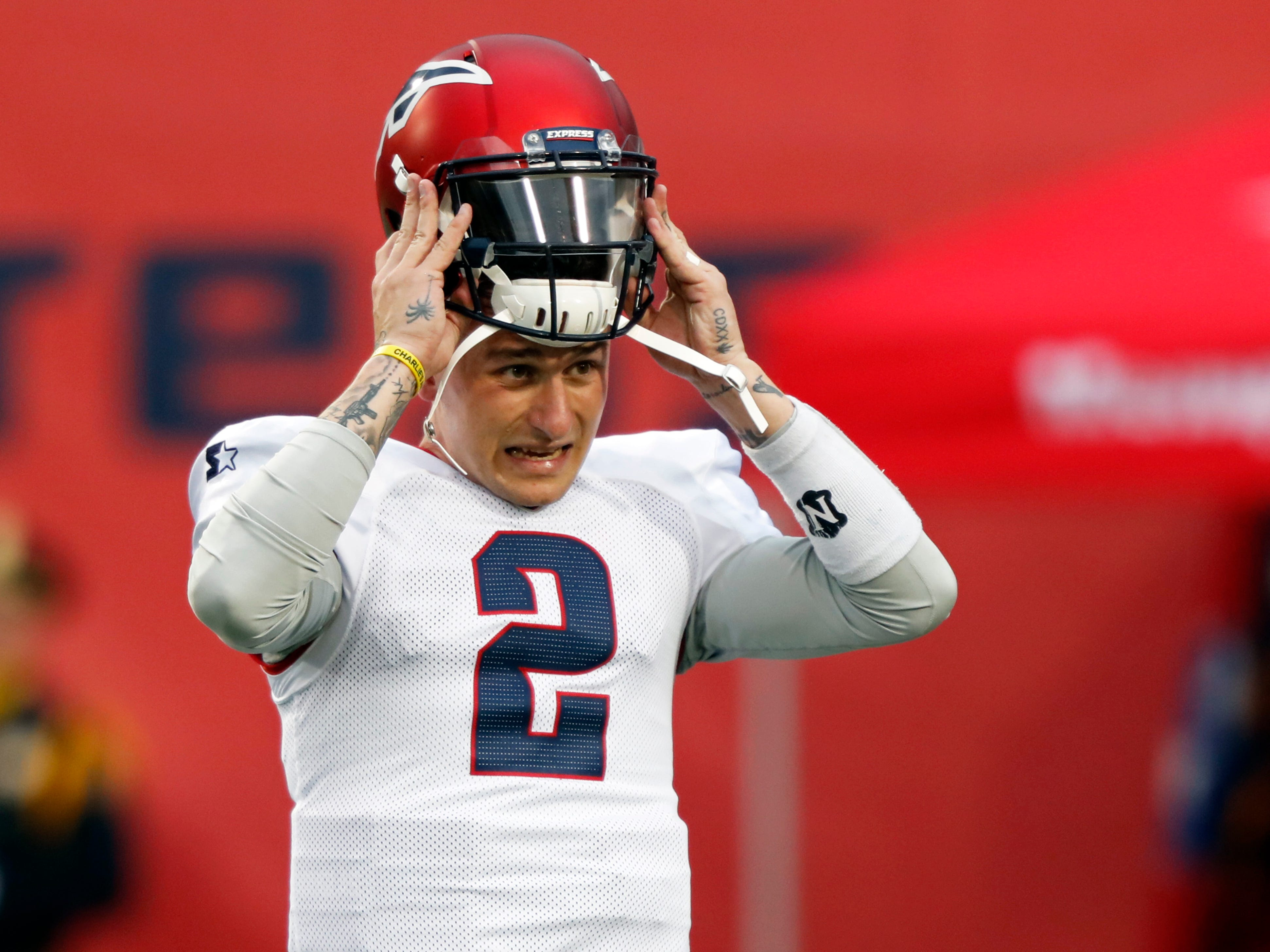 Memphis Express quarterback Johnny Manziel is seen during warms ups before an AAF football game against the Birmingham Iron, Sunday, March 24, 2019, at Liberty Bowl Memorial Stadium in Memphis.