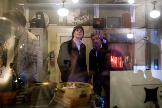 """March 26, 2019 - Famed documentary filmmaker Ken Burns, left, talks with Jerry Phillips, son of Sam Phillips, right, during a tour of Sun Studios as part of a bus tour to promote the new 8-part series """"Country Music."""""""