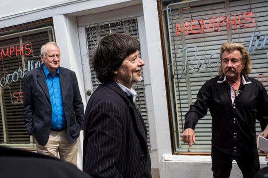 "​​Famed documentary filmmaker Ken Burns, center, visits Sun Studio with Jerry Phillips, right, and writer Dayton Duncan as part of a bus tour to promote the new 8-part series ""Country Music."""