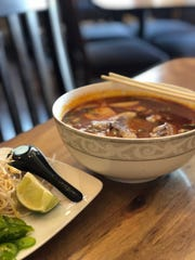 The Bun Bo Hue spicy beef noodle soup at Green Bamboo Noodle House in Cordova.