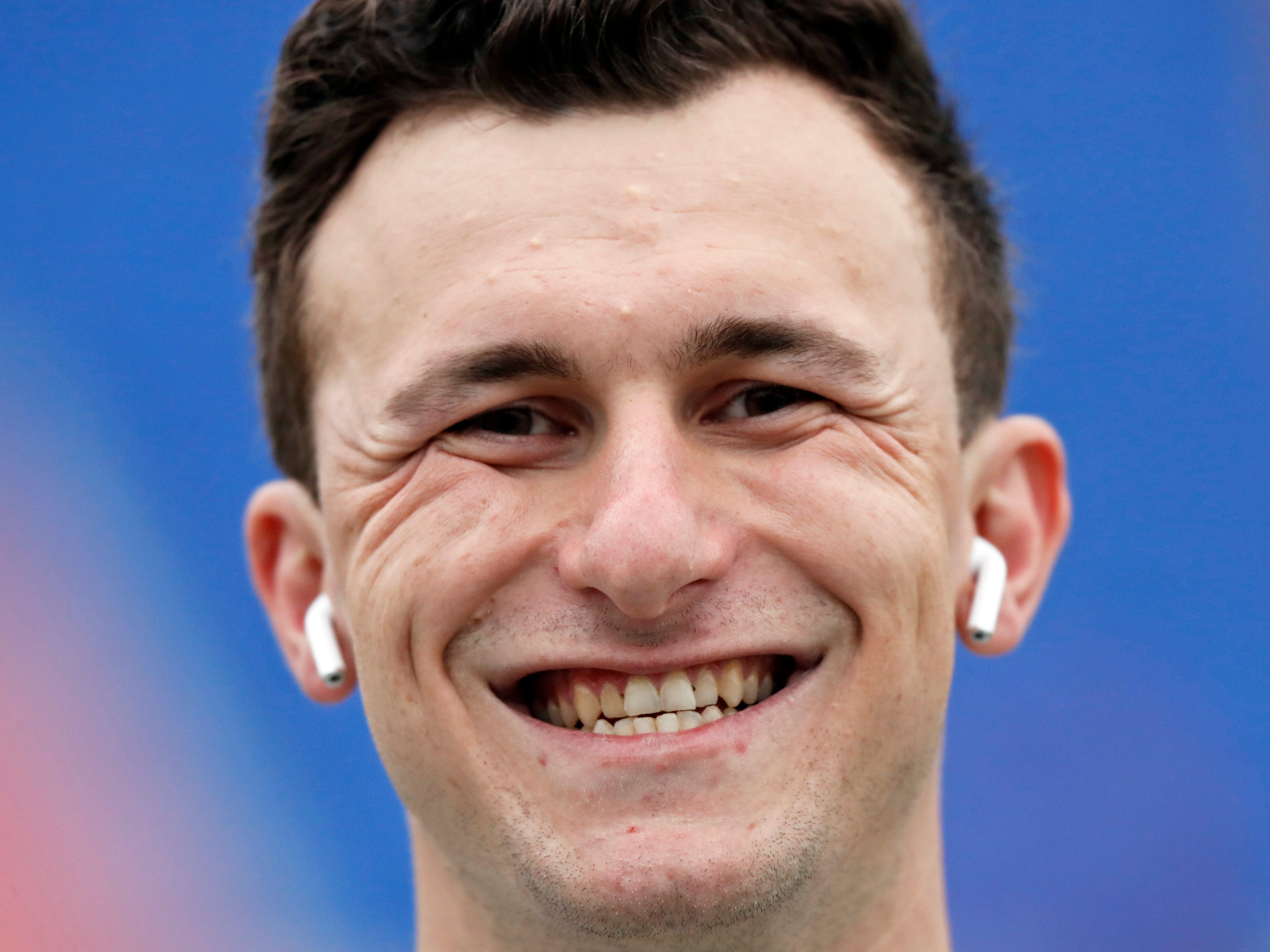 Memphis Express quarterback Johnny Manziel is seen before an AAF football game against the Birmingham Iron, Sunday, March 24, 2019, at Liberty Bowl Memorial Stadium in Memphis.