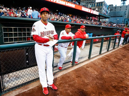 """Memphis Redbirds new manager Ben Johnson before taking on the St. Louis Cardinals during their """"Battle of the Birds"""" exhibition game at AutoZone Park."""