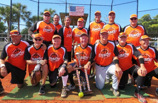 The Brewery was the Island Division tournament champions. From left, back: Jim Stewart, Bill Novakovich, John Gross, John Coughlin (statistician), Jim Williams, Joe Rocco and Ralph Sieja (coach); front: Jim George, Dan Dumbauld, Rich Krumholz, Manager Bob Williams, Dave Johnson, Jim Vitas and Jimmy Cuevas. Not pictured, Herman Griffith.