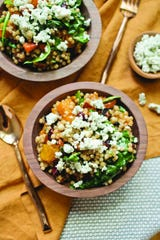 This Harvest Couscous Salad from Emmi Roth is topped with the Monroe cheesemaker's buttermilk blue cheese.