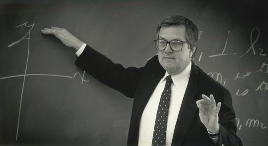 David Johnson shown in 1991, shortly before he retired after 33 years as a math teacher at Nicolet High School.