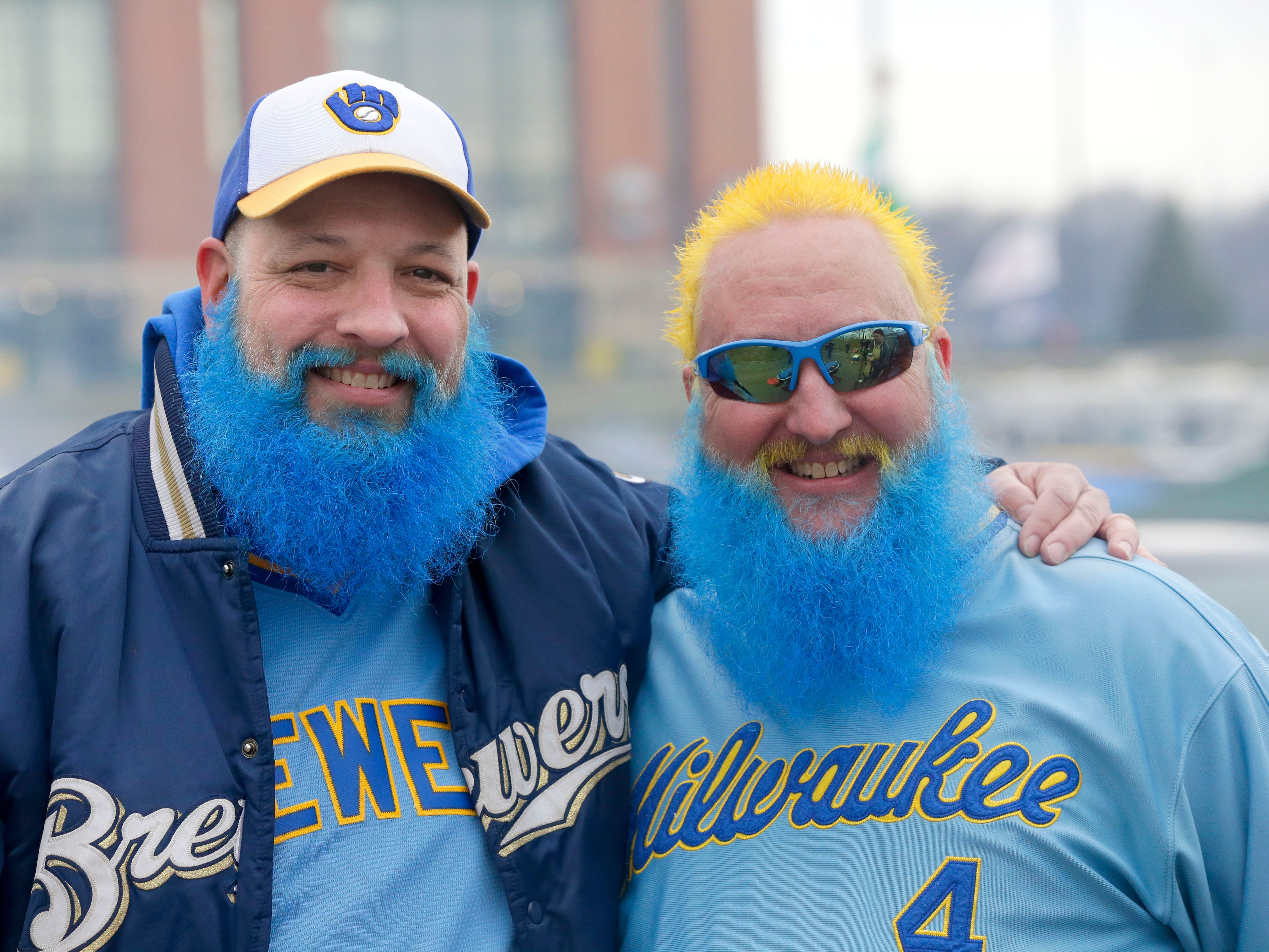 Brothers Brian Haagensen (left) and Todd Haagensen, both of Mount Pleasant, colored their beards Brewers blue in preparation for opening-day tailgating at Miller Park on April 3, 2017. Inside Miller Park, Milwaukee lost to the Colorado Rockies, 7-5.