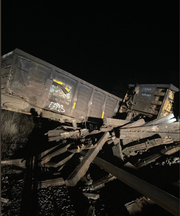 No injuries were reported in a 13-car train derailment on Monday, March 25, in Menomonee Falls.