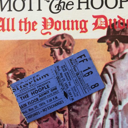 """A torn ticket stub from Mott The Hoople's last Milwaukee show, on May 22, 1974, at the Milwaukee Auditorium, since remodeled and renamed the Miller High Life Theatre. The show cost $5 in advance, or $6 on the day of the event, with """"state tax included."""""""