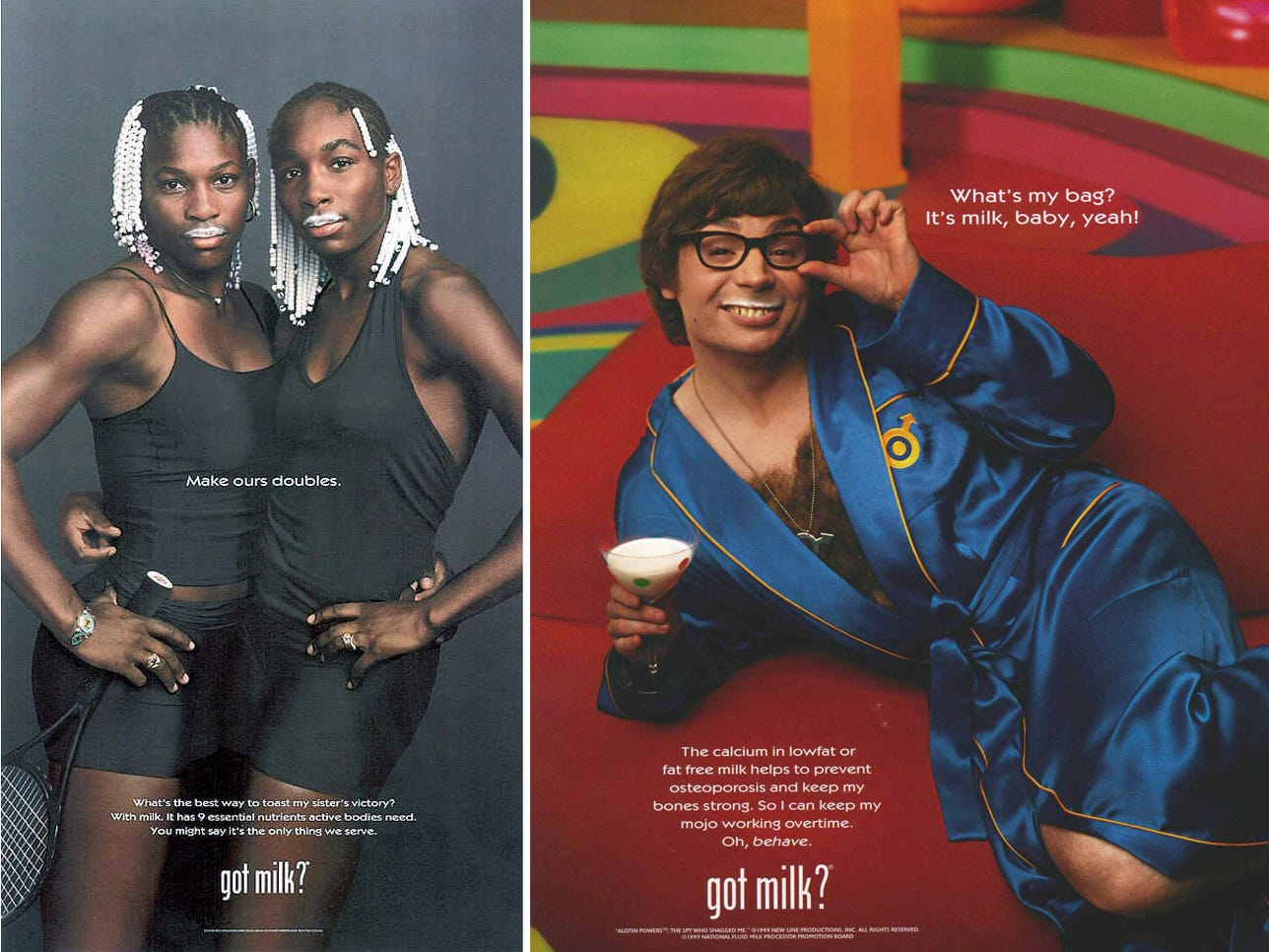 In 1993, the California Milk Processing Board started a campaign to promote milk and kicked-off perhaps one of the most successful and influential marketing efforts. Over the years, the campaign enlisted hundreds of iconic cultural figures, both real and imagined, to pitch milk. The campaign elevated the profile of milk but only slowed the downward trend in milk consumption.