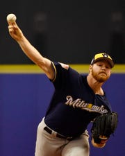 Brewers pitcher Brandon Woodruff throws a pitch in the second inning.