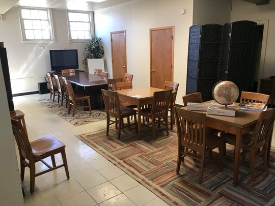 Agape ministry assistant Marlene Kumitsch pointed out that this room in the basement had constant flooding issues when the church first moved in. Since then, work by the congregation and community volunteers has fixed the problems and turned it into a gathering/meeting space.