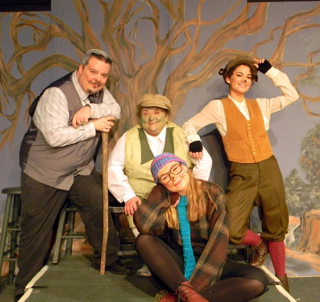 Cast members Kayla Smith (front), Mike Horberg (second row, from left) Karen McKaig and Marcella Schlote are show in a scene from the Wind in the Willows, which opens with a benefit performance for The CALL of Baxter County on Thursday.