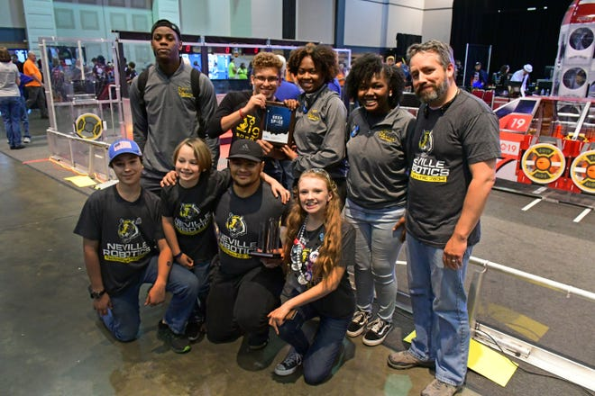 """The Neville High School roboticsteam wasawarded the """"Rookie Inspiration Award"""" sponsored by National Instruments, at the Bayou Regional FIRST Robotics Competition."""