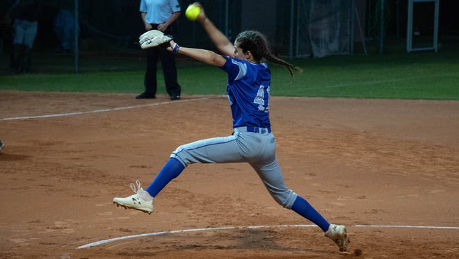 Alexia Lacatena of Byram, a Lenape Valley sophomore, throws a pitch for the Italian under-19 national team at the European Championships last summer.