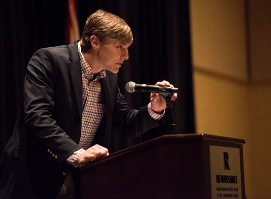 Morgan Academy's Gunnar Henderson accepts the AISA boys player of the year during the 2019 Mr. and Miss Basketball Banquet at the Renaissance Hotel in Montgomery, Ala., on Tuesday, March 26, 2019.