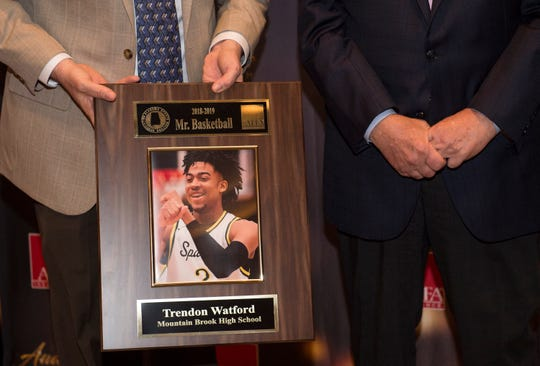 Mountain Brook's Trendon Watford is announced Alabama Mr. Basketball during the 2019 Mr. and Miss Basketball Banquet at the Renaissance Hotel in Montgomery, Ala., on Tuesday, March 26, 2019.