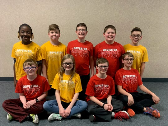 These are the 10 Royerton Elementary students who qualified for the 2019 VEX Robotics World Championship.  Back Row (Left to Right):  Elizabeth Bamidele, Noah Parrot, Mason Hopper, John Atkinson, Alex Miranda. Front Row (Left to Right): Caleb Hunter, Madison Mosser, Hudson Ewing, Luke Huston. Not pictured: Logan Thomas.