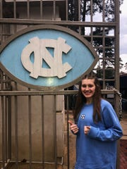 New Castle's Mabrey Shaffmaster on the campus of the University of North Carolina at Chapel Hill, where she will continue her volleyball career.