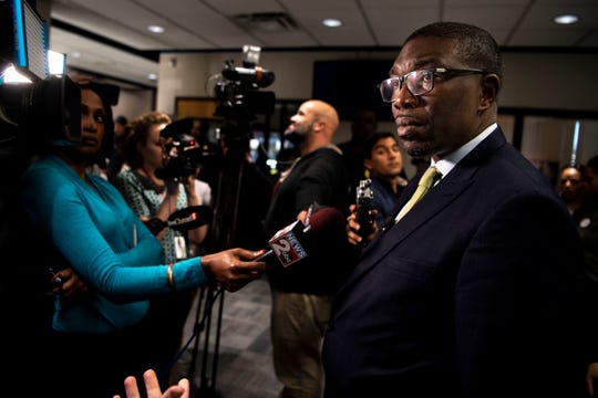 Metro Nashville Public Schools Director Shawn Joseph answers reporter's questions after speaking during a Metropolitan Nashville Board of Public Education meeting at the board chambers in Nashville, Tenn., Tuesday, March 26, 2019.