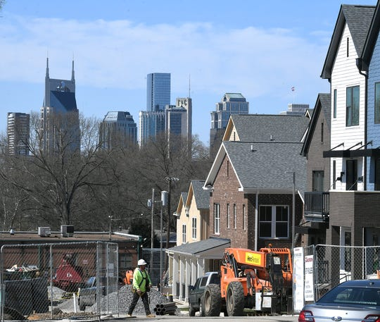 A view of downtown Nashville can be seen from Kirkpatrick Park residential development in Nashville on Tuesday, March 26, 2019.  Mayor David Briley held a press conference announcing $500 million affordable housing push over the next 10 years.