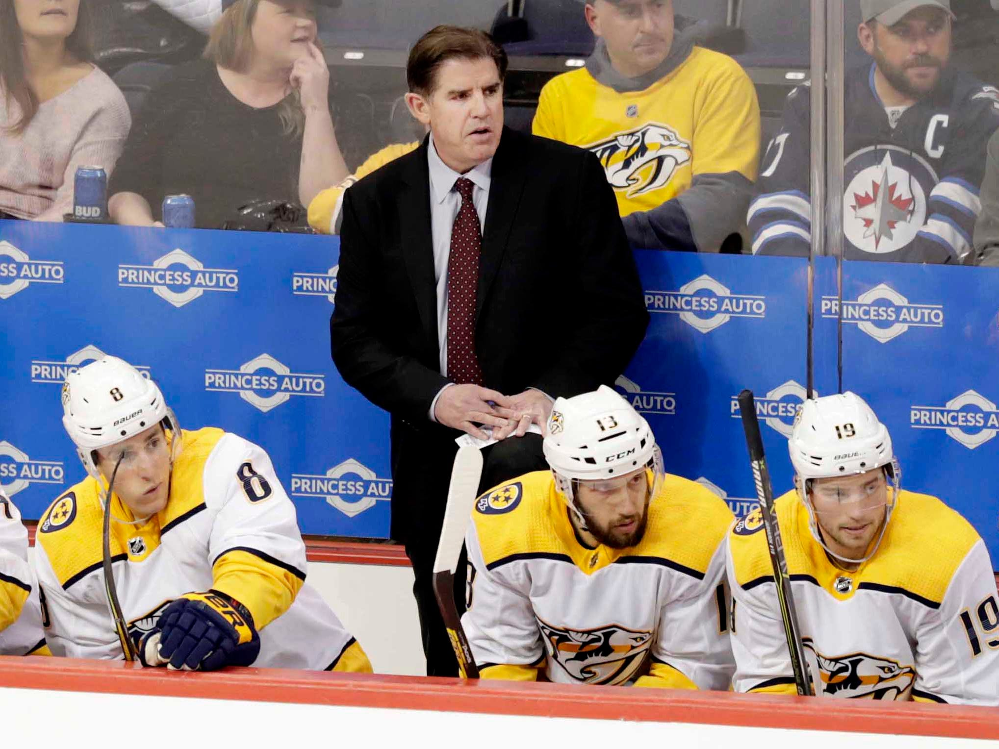 Mar 23, 2019: Jets 5, Predators 0: Winnipeg, Manitoba, CAN;  Nashville Predators Head Coach Peter Laviolette looks on during the third period against the Winnipeg Jets at Bell MTS Place.