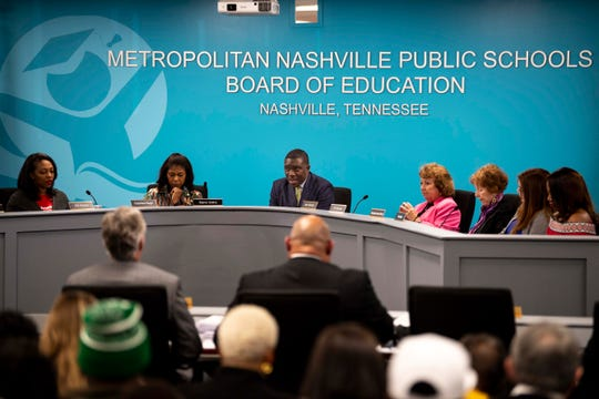 Metro Nashville Public Schools Director Shawn Joseph, center, speaks during a Metropolitan Nashville Board of Public Education meeting at the board chambers in Nashville, Tenn., Tuesday, March 26, 2019.