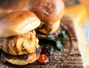 Street Ballin' Vada Pau: potato fritter on toasted buttery roll with fried chili from Maneet Chauhan's Chaatable.