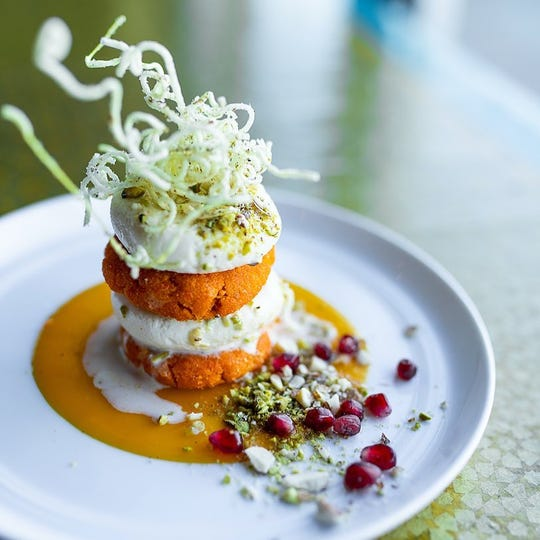 That's What Cheese Said: carrot halwa with sweet cheese dumplings from Maneet Chauhan's Chaatable.