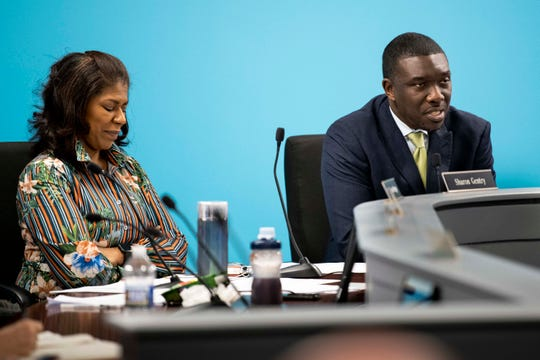 Nashville school board chair Dr. Sharon Gentry listens as director Shawn Joseph speaks during a Metropolitan Nashville Board of Public Education meeting at the board chambers in Nashville, Tenn., Tuesday, March 26, 2019.