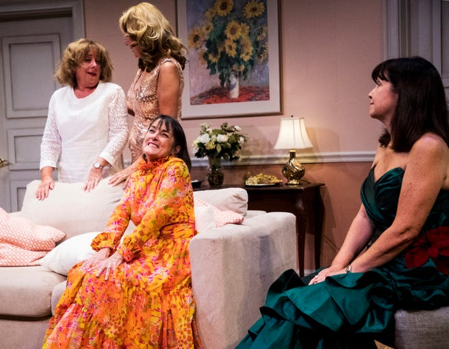 From left, Linda Mizeur playing Charlie, Pamela Austin playing Monette, Judy Scribner playing Libby Ruth and Jo Atkinson playing Deedra act out a scene during a dress rehearsel in Always a Bridesmaid. It is playing at the Tobye Theater at Sugden Community Theater on 5th Ave. in Naples from March 27-April 20.
