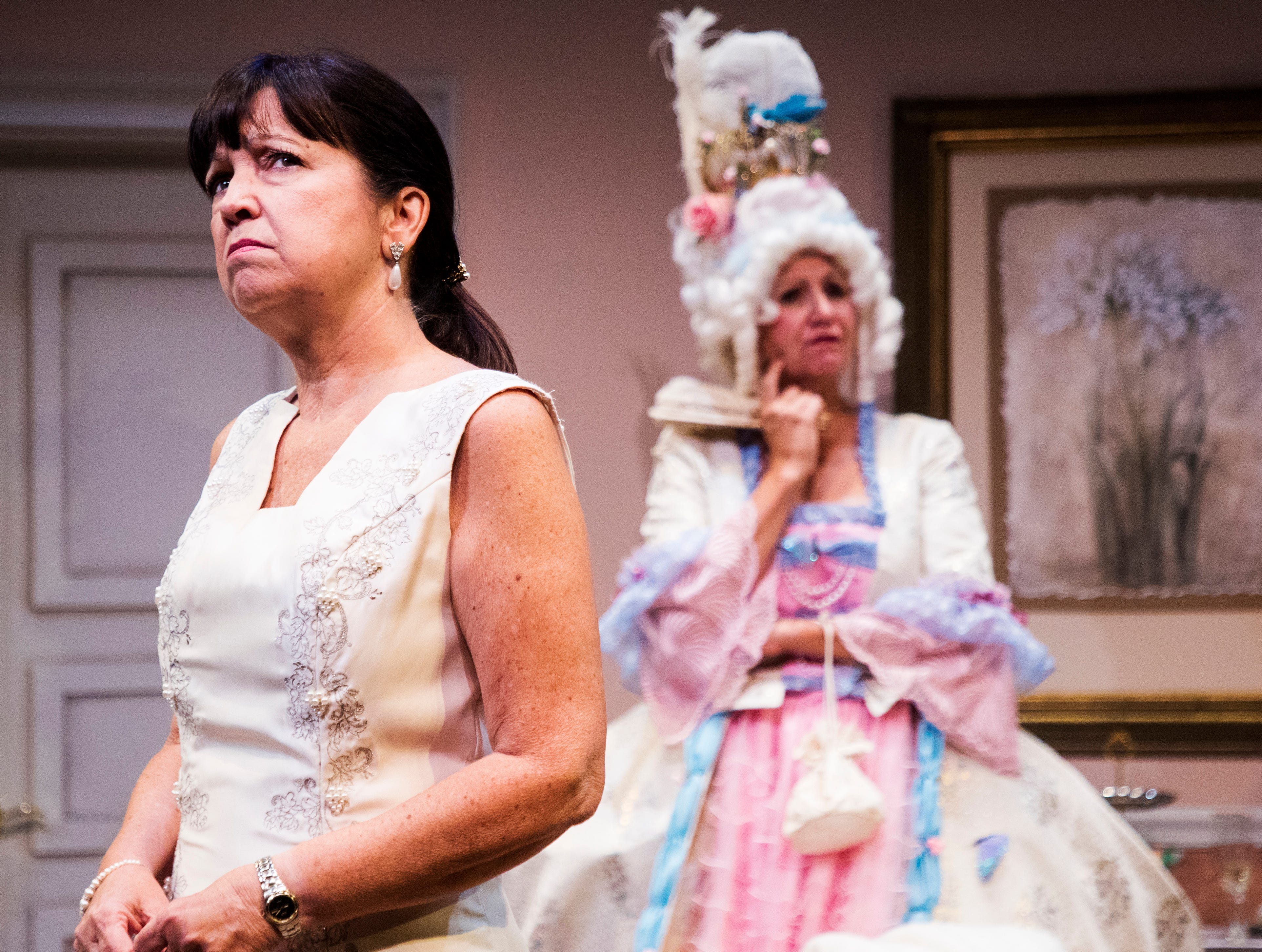 Jo Atkinson playing Deedra and Pamela Austin Playing Monette act out a scene during a dress rehearsel in Always a Bridesmaid. It is playing at the Tobye Theater at Sugden Community Theater on 5th Ave. in Naples from March 27-April 20.