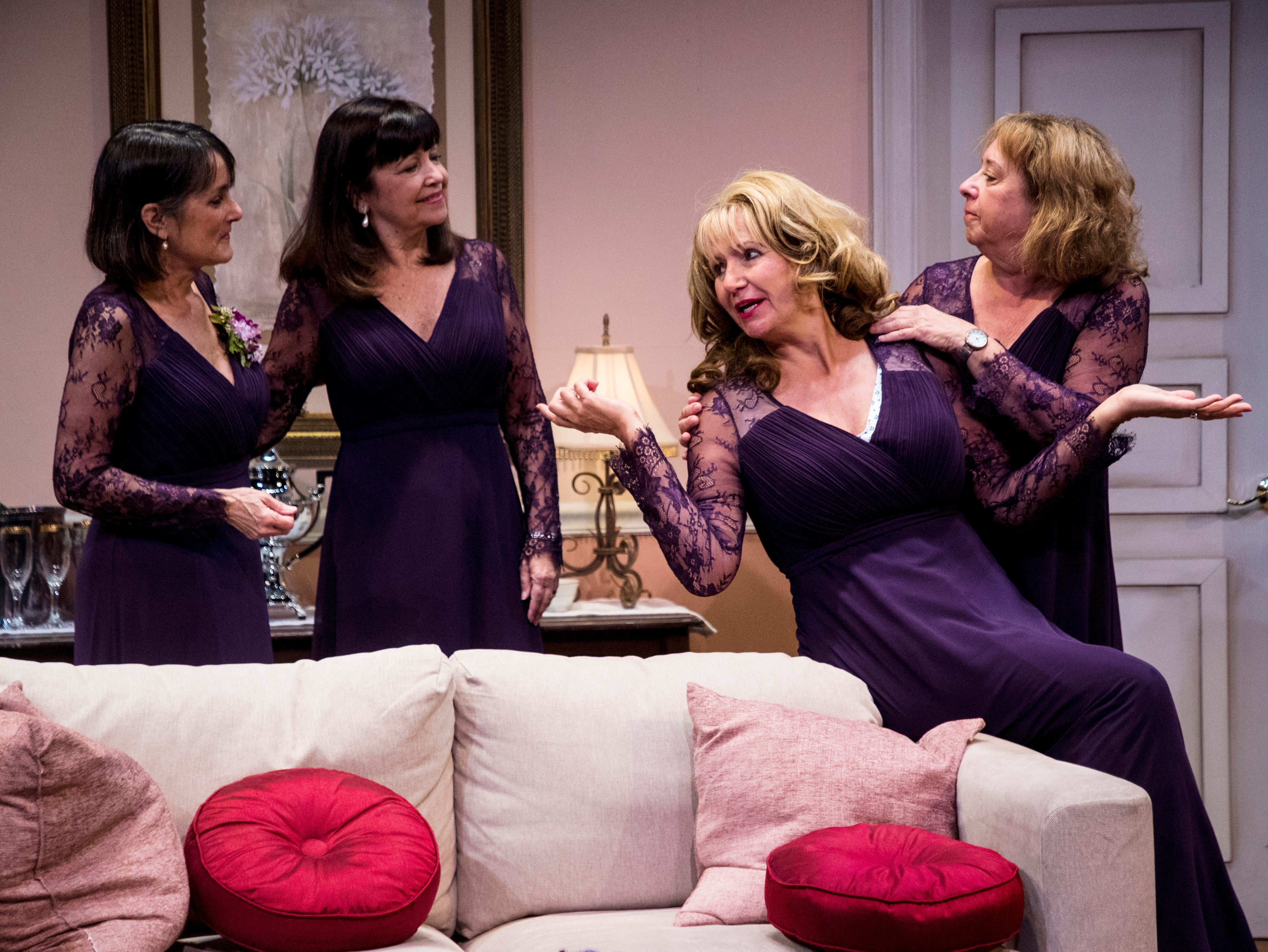 From left, Judy Scribner playing Libby Ruth, Jo Atkinson playing Deedra, Pamela Austin playing Monette and Linda Mizeur playing Charlie act out a scene during a dress rehearsel in Always a Bridesmaid. It is playing at the Tobye Theater at Sugden Community Theater on 5th Ave. in Naples from March 27-April 20.