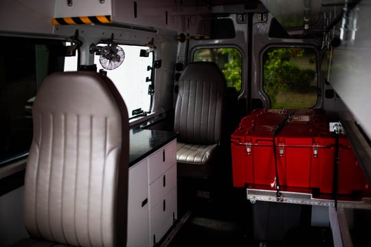 The interior of the Next-Generation Emergency Response Vehicle at the Florida Southern Gulf chapter of the American Red Cross in Fort Myers on Tuesday, March 26, 2019. The vehicle has improved safety features, like rearview cameras and enhanced ergonomic systems, to help volunteers load and distribute food, cleanup supplies and other essential relief items.