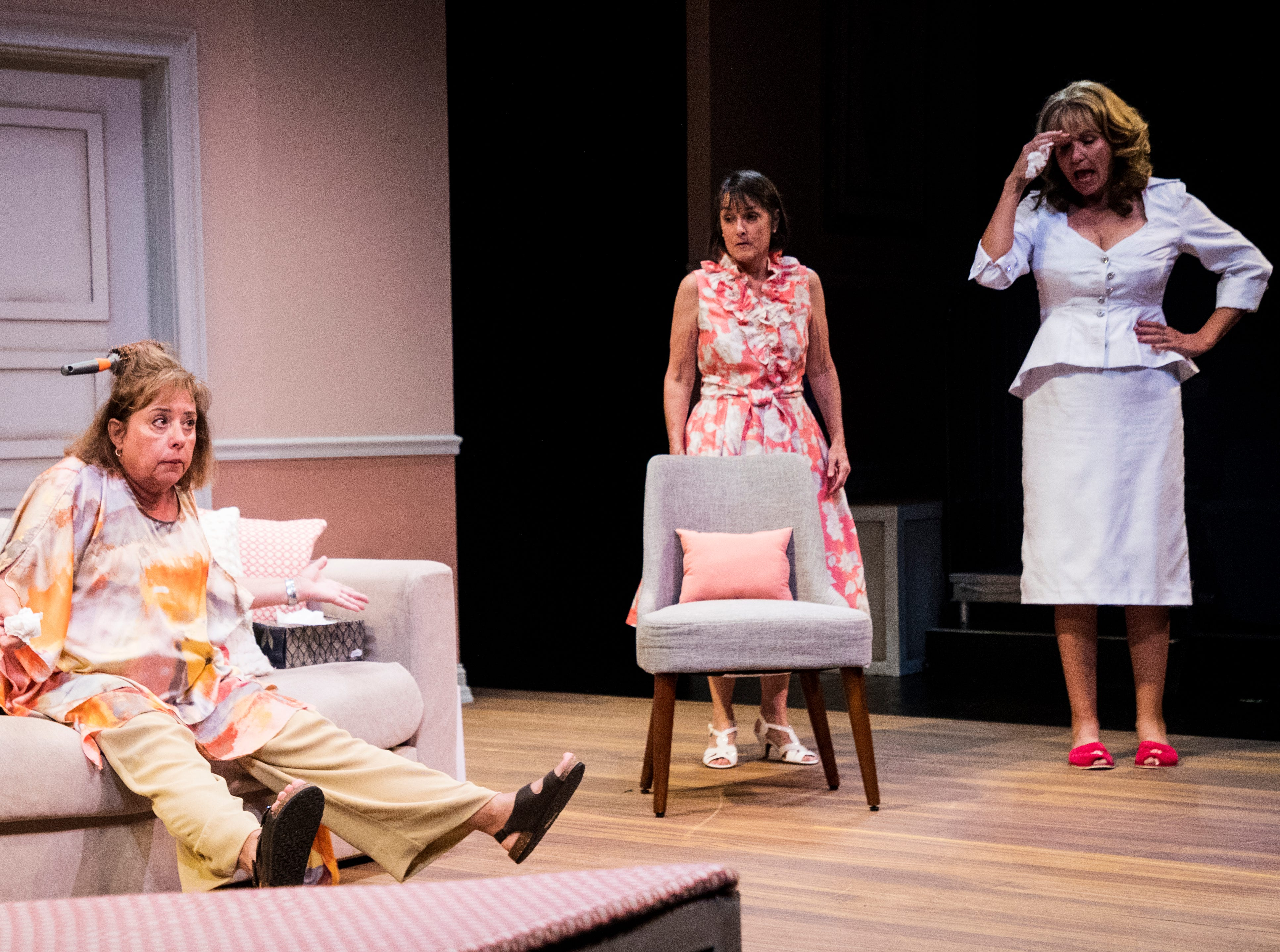 From left, Linda Mizeur playing Charlie, Judy Scribner playing Libby Ruth and Pamela Austin playing Monette act out a scene during a dress rehearsel in Always a Bridesmaid. It is playing at the Tobye Theater at Sugden Community Theater on 5th Ave. in Naples from March 27-April 20.