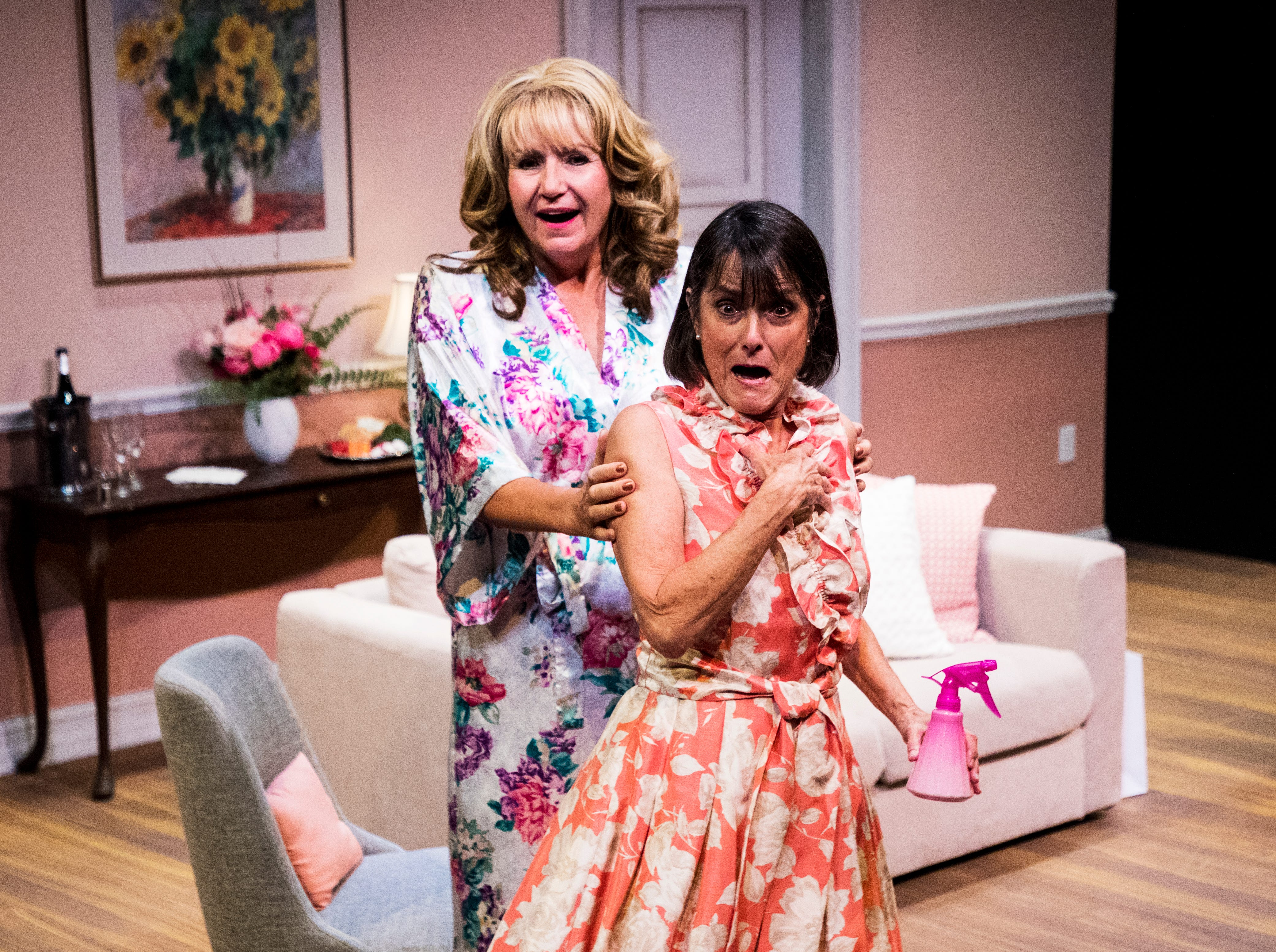 Pamela Austin playing Monette and Judy Scribner playing Libby Ruth act out a scene during a dress rehearsel in Always a Bridesmaid. It is playing at the Tobye Theater at Sugden Community Theater on 5th Ave. in Naples from March 27-April 20.
