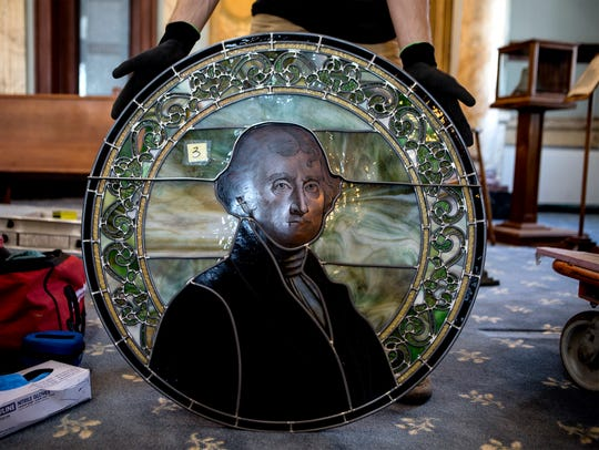 One of the five Tiffany stained-glass windows, depicting Thomas Jefferson, has been restored and reinstalled in the Licking County Courthouse.