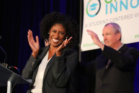 Governor Phil Murphy at Rutgers-Newark to announce the release of the state plan for higher education in New Jersey. Speaking is NJ Department of Higher Education Secretary Zakiya Smith Ellis celebrating the students Bill of Rights with Governor Phil Murphy.