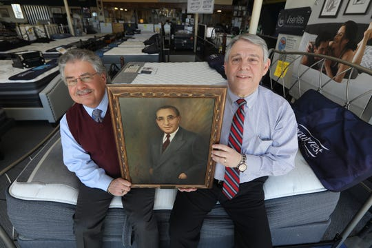 Bruce and Robert Wiener hold a portrait of their grandfather, Morris L. Wiener, in their Hackensack store. The cousins are third-generation mattress sellers, at Bruce The Bed King.  Between the two of them they have approximately 95 years experience.  However, they will both retire and close the family business in May or June.  Tuesday, March 25, 2019