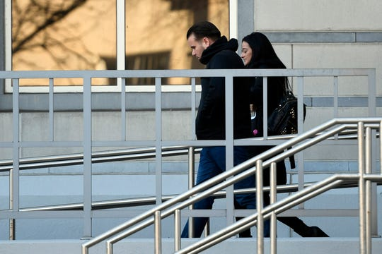 Paterson Police Officer Daniel Pent leaves the federal courthouse in Newark on Tuesday, March 26, 2019. Pent was charged with conspiring to deprive individuals of civil rights.