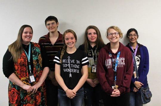 From left teacher Kassandra Crabtree, Donald West, Lindsey Norwood, Rebecca Adams, Hannah Wellman and Vaisnave Selvam are the Alamogordo High School BPA.
