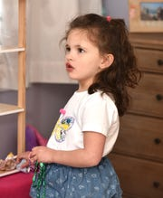 Four year-old Leyna Harris has a few lines in the upcoming Fisher Theatre production of Waitress.