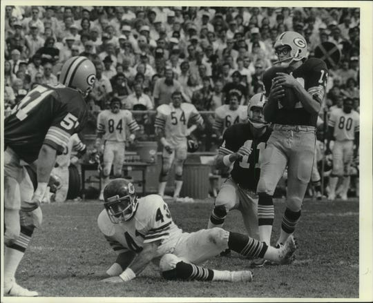 Packers kicker Chester Marcol gathers in this blocked field goal in overtime and runs for the touchdown that enabled the Packers to beat the Bears in overtime in 1980.