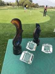 Trophies to be awarded for the first Rancho Mirage City Amateur Champions on display near the putting green of the Gary Player Course at Westin Mission Hills Resort. The tournament concludes Wednesday at the resort's Pete Dye Course.