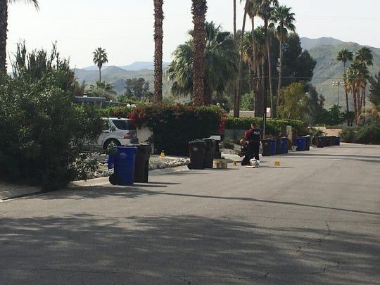 Palm Springs police investigate gunfire on Desert Way, south of Sunny Dunes Road. Residents say they heard at least four or five shots.