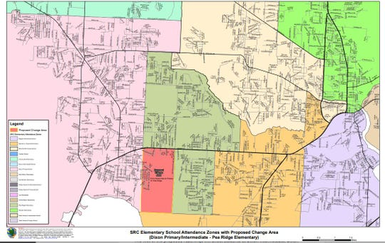 The proposed rezoning for Dixon Primary, Dixon Intermediate and Pea Ridge Elementary in Pace.