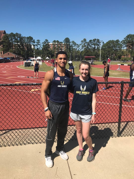 Gulf Breeze High's Christian Murphy (left) and Lauren Jorgensen (right) are school-record holders in the 100m dash and 1600m run, respectively.