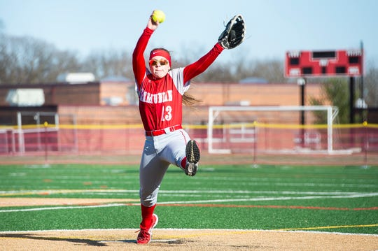 Bermudian Springs starting pitcher Maya Kemper winds up  a pitch during a YAIAA softball game against Delone Catholic on Tuesday, March 26, 2019.