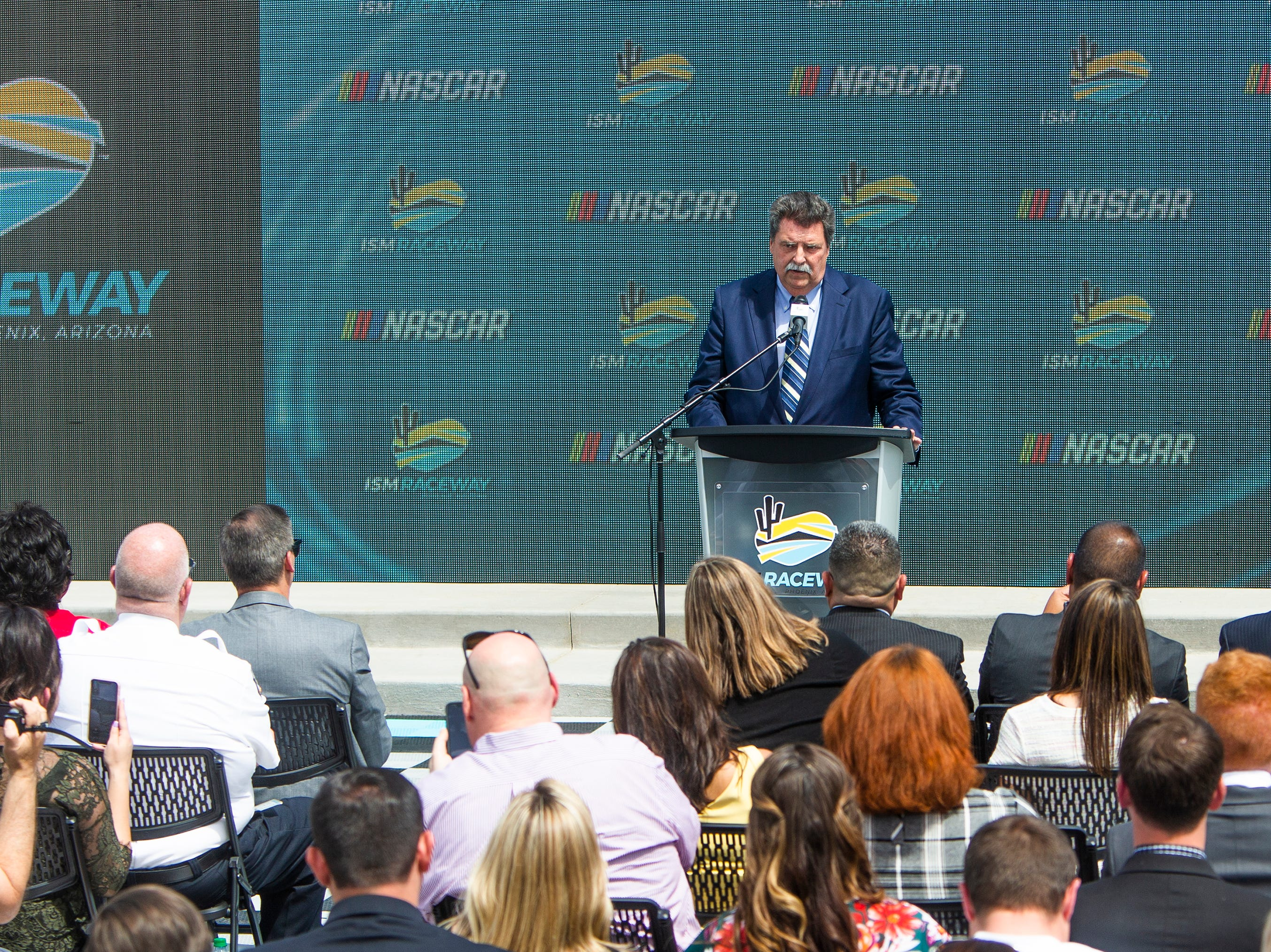 NASCAR Vice Chairman Mike Helton speaks March 26, 2019, about the announcement that the NASCAR Championship Weekend will be coming to ISM Raceway in Avondale, November 6-8, 2020.